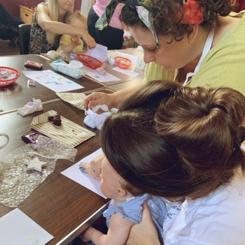 Mum and Baby hand printing with the help of Victoria from Baby Prints Cheltenham